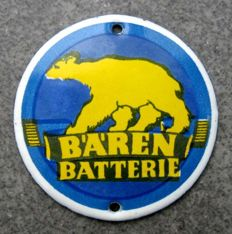 Bären Batterie doorplate - enamelled doorplate - 1930