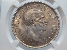 "Kingdom of Italy – 20 Lire, 1927 – ""Littore"" (Lictor) Vittorio Emanuele III – Silver – In NGC slab box"