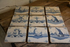 Lot of 9 special tiles - blue and white, Delft. approx. 1700