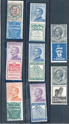 Kingdom of Italy – 1924-25 – advertising stamps: 2 Bitter Campari, Coen, 2 Reinach, 2 Columbia, Tantal / Sassone 2017 no. 1-3-5-7-14-19-20