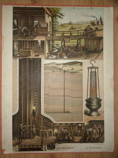 "More than one hundred years old school poster ""The coal mine, La houillere"" by H.J. van Lummel"