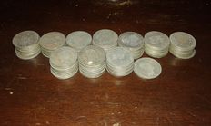 Italy, Kingdom – lot of 102 x 1 Lira silver coins from 1863 to 1867