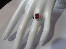 2.50ct / 0.56ct Ruby and Diamond Cluster ring