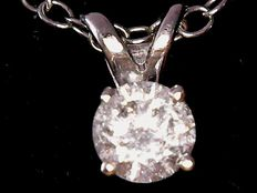 White gold solitaire pendant with 0.3 ct diamond