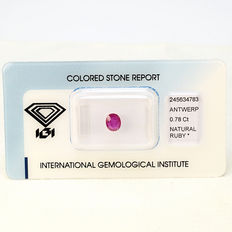 Purplish Red - Rubin - 0.78 ct