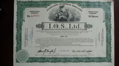 Lot of 30 I.O.S., Ltd.  Certificates dated
