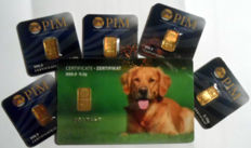 6 pcs. gold bars Nadir PIM fine gold 999.9/1000 sealed 24 Karat Goldbarren Bullion Gold LBMA certified ;  1 peace 0.5g  Giftcard Dog Hund,  5 pcs. Goldbars each 0.10g