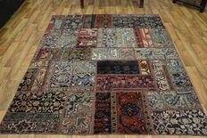 Persian carpet, patchwork carpet, vintage, hand-knotted, low pile, modern design.