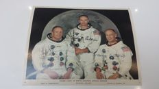 Autographed photo of the 3 first men on the moon. NASA - 1969.
