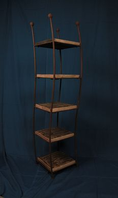 Antique nicely shaped wrought iron rack with five shelves 148 cm