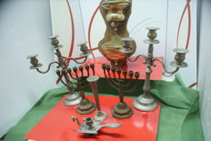 Lot of six candlesticks and a stoup, 1950, wood and brass