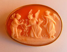 Antique Shell Cameo Brooch with Three Muses and Sculptor's Signature.