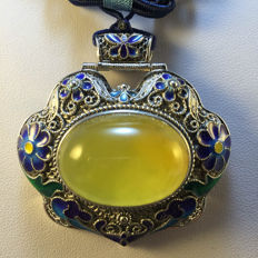 925 silver cloisonné enamel and amber pendant, weight 32.8 grams, No reserve price
