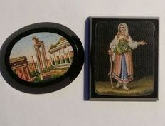 2x micro mosaic tiles - Italy, 2nd half of the 19th C