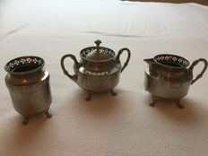 Art deco silver plated coffee set complete, Holland - 1950