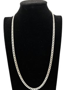 Heavy solid silver curb link necklace