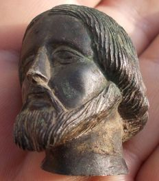 """Late medieval sold bronze """"head of Christ"""" - France - 18th-19th century"""