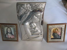 The Holy Family - Jesus - Madonna with Child, 100% 925 silver and wood - 20th century, Italy