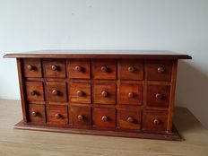 Vintage apothecary cabinet with 18 drawers, 2nd half of the 20th century.