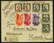 Kingdom of Italy – Libya, 1932 – Registered mail, air mail – From Homs (Tripolitania) to Rovereto.