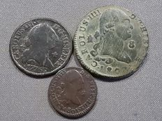 Spain - Lot of 3 coins, Carlos III and Carlos IV