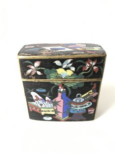 Cloisonné and brass opium box - China -19th century