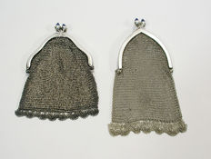 Two silver pouches, 'chain mail' model, ca. 1900