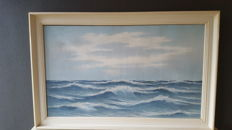 Large painting sea view of the famous maritime painter L Hopman