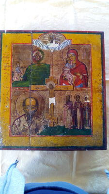 Large hand painted Russian icon, early 19th century