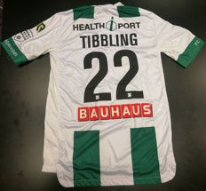 Signed and worn match shirt of Simon Tibbling