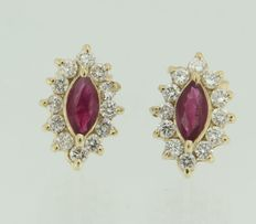 14 kt Yellow gold earrings with diamond and ruby, 8 mm wide, 12 mm high