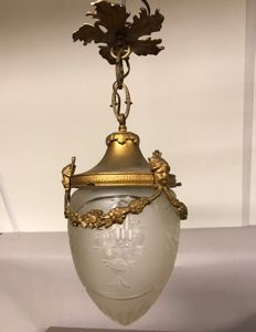 Bronze with brass hall lamp with garlands and angels head with cut crystal shade - France - ca. 1880