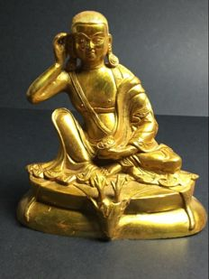 Gilt-bronze depiction of Milarepa – Nepal – Early 21st century
