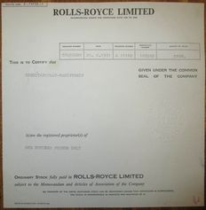 UK England - Rolls-Royce Limited Share Certificate 1971 - famous luxury car manufacturer
