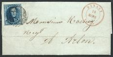Belgium 1850 - Franked letter, COB no. 4, nice margin, cancellation mark 33 with horizontal bars, from Dinant (14 March 1851) to Arlon