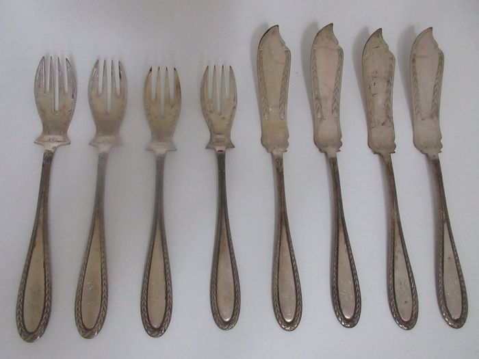 Antique 800 silver fish cutlery, height Meyen & Co., 8 pieces - Berlin, Germany approx. 1900