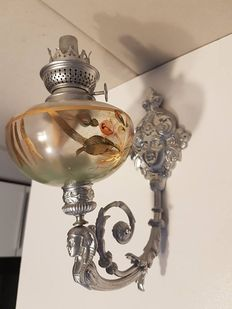 Antique wall oil lamp with crystal oil reservoir