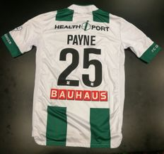 Signed and worn match shirt of Desevio Payne