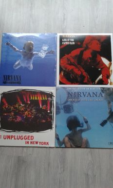 Lot of 4 x Nirvana:  Nirvana  – Greatest Hits Live On Air  Limited Edition  Color Blue, Nirvana  – Live At The Cactus Club , Nirvana  – Nevermind , Nirvana  – MTV Unplugged In New York