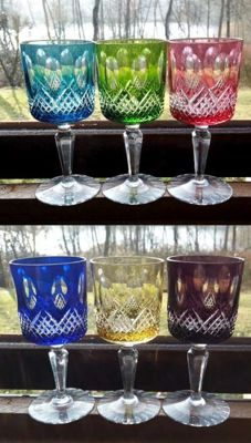 Set of six crystal wine glass rummers -presumably Saint Louis - France
