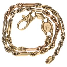 Yellow gold rope link bracelet.