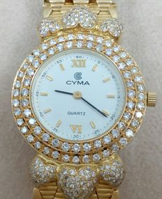 CYMA – Women's watch – 18 kt (750) yellow gold with diamonds