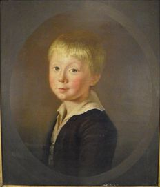English School - Portrait study of a young boy named Timothy Leicester