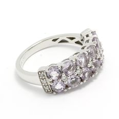 Estate  10kt White Gold Ring  Set With Diamonds and Amethyst