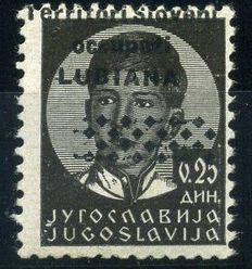 Kingdom of Italy - 1941 - Italian occupation of Ljubljana, 25 p., black with shifted overprint - Sassone no. 33A