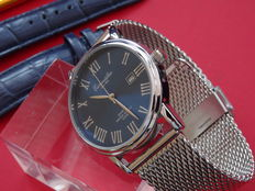 eichmuller classic dress blue dial watch with mesh strap