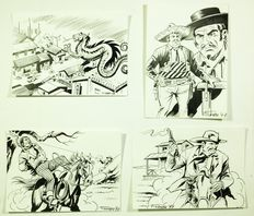 "Gamba, Francesco - 4x illustrations ""Cavalcando con Tex"" - (1997/98)"