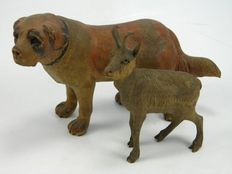 Antique Black Forest carved wooden dog & goat figures – German – late 19th century