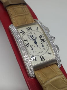 Cartier Tank Americaine XL Chronoflex 2 Row Diamond Bezel - 2312 - Unisex
