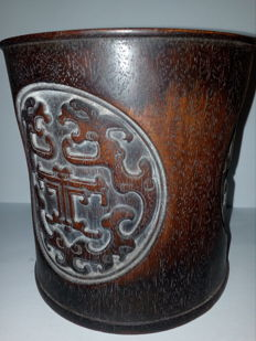 Wooden brush pot – China – Second half of the 20th century.